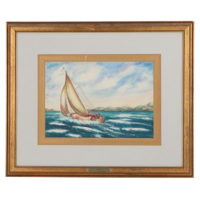 "Olga Todd Watercolor Painting ""Sailing"""