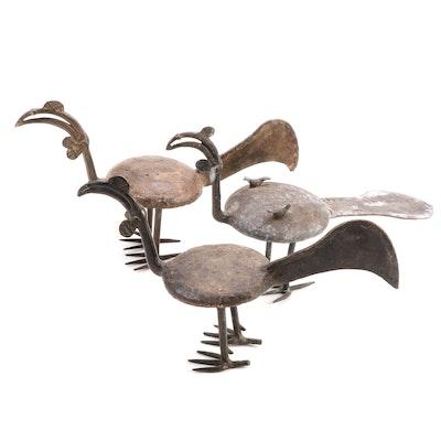 Lobi Style Cast Brass Sculptures of Fowl