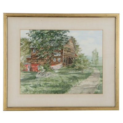 B. Nonis Watercolor Painting of Rural Cottage with Barn