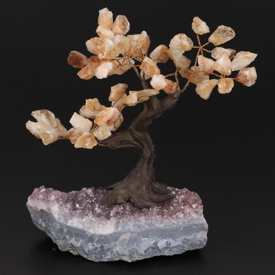 Citrine Leaf Bonsai Tree on Amethyst Base Figurine