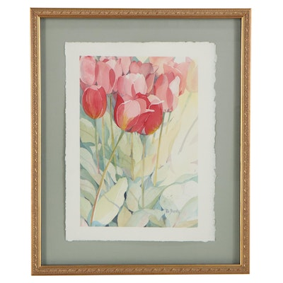 Pat Banks Watercolor Painting of Roses, Late 20th to 21st Century