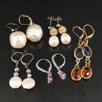 Earrings with Sterling, Pearl, Cubic Zirconia and Faux Pearl