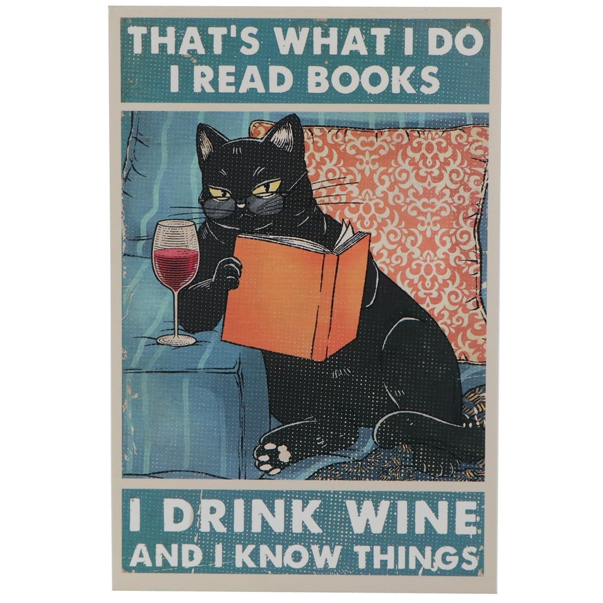 Pop Art Giclée of Black Cat Reading, 21st Century