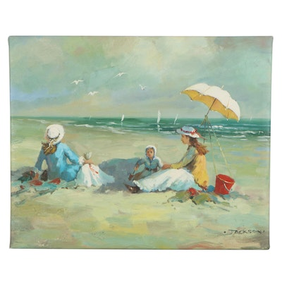 Impressionist Style Oil Painting of Beach Scene
