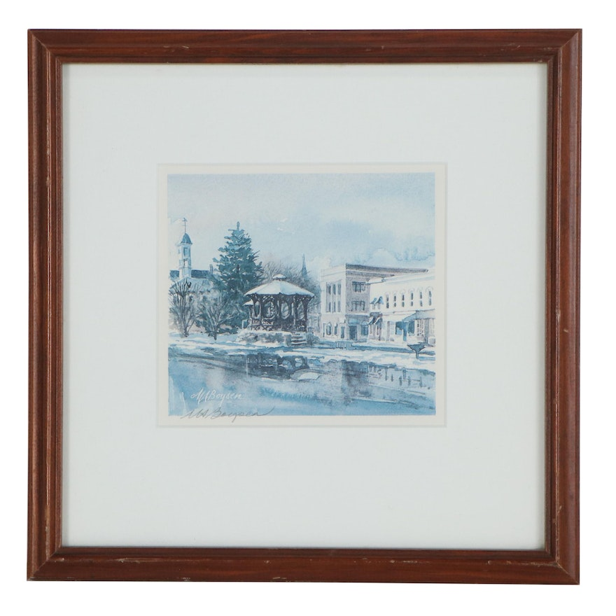 Mary Ann Boysen Offset Lithograph of Chagrin Falls