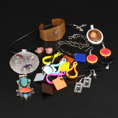 Jewelry Including Micromosaic Earrings, Sterling and Jasper