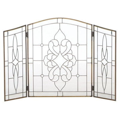 Creative Glassworks Leaded Glass Three-Panel Folding Fire Screen