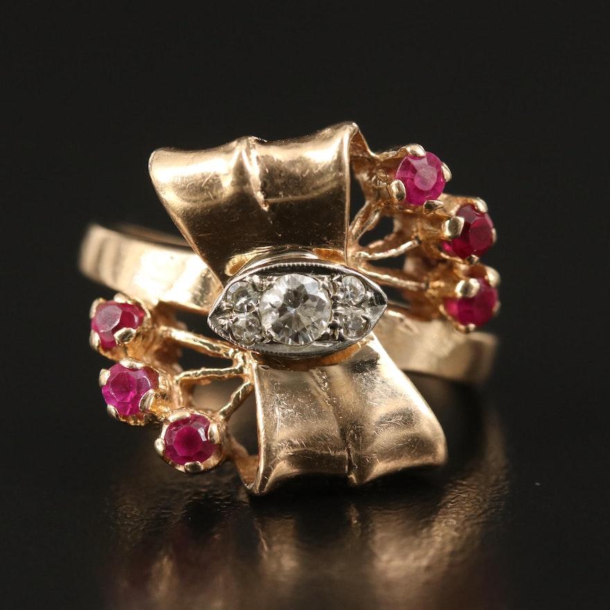 Retro 14K Diamond and Ruby Bow Ring