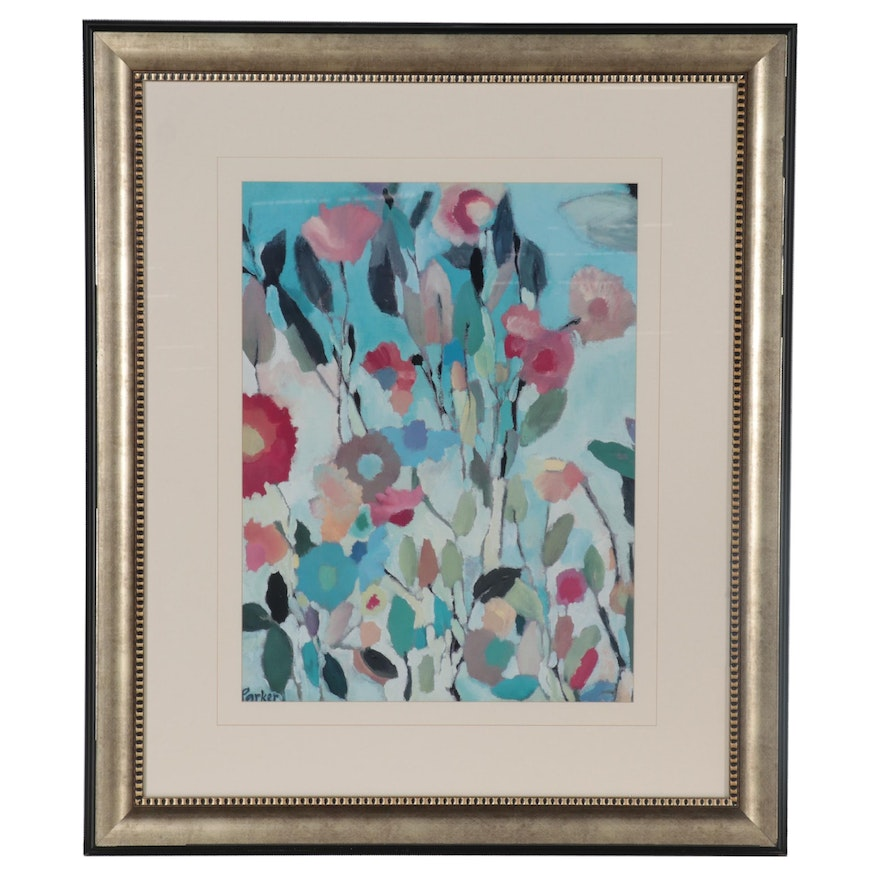 """Offset Lithograph after Kim Parker """"Turquoise Garden"""""""