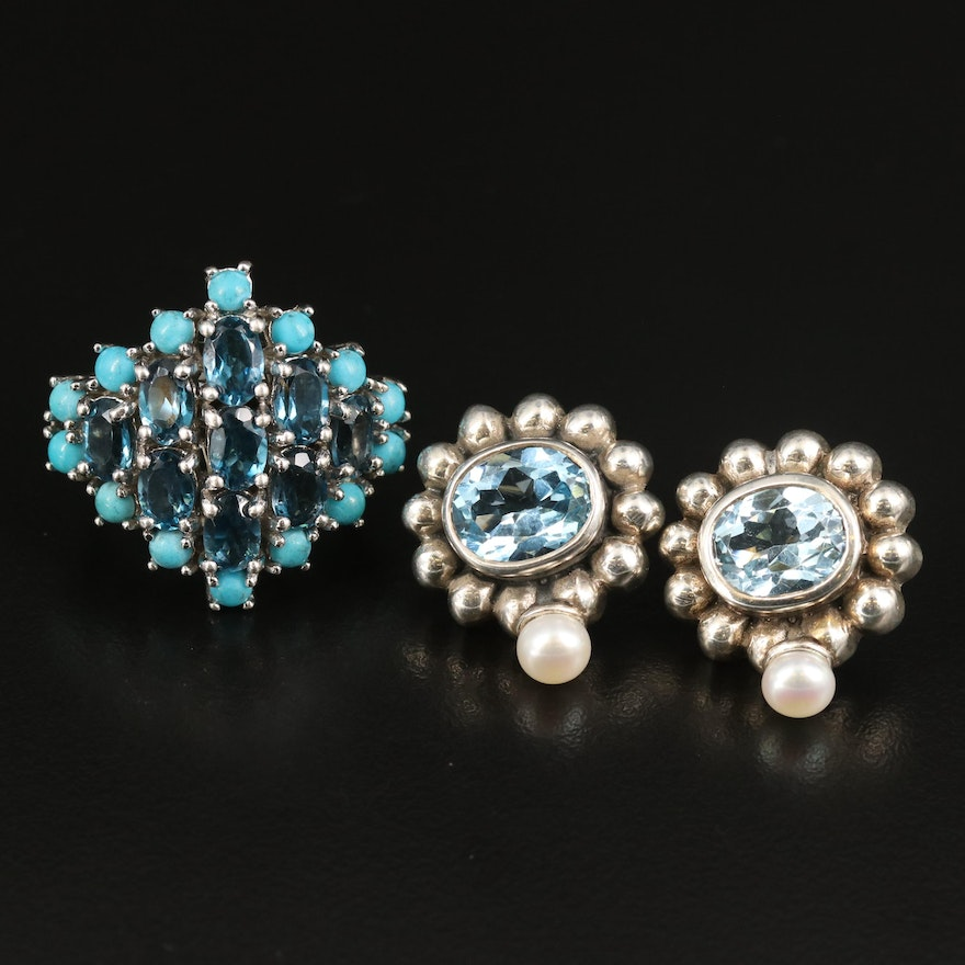 Sterling Topaz, Pearl and Faux Turquoise Ring and Earrings