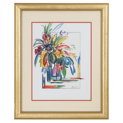 Fauvist Style Offset Lithograph of Floral Still Life