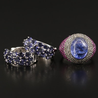 Sterling Hoop and Ring with Iolite, Corundum and Diamond