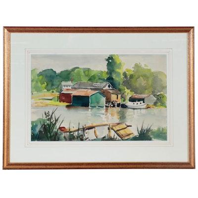 Lavon Whitmire Riverscape Watercolor Painting