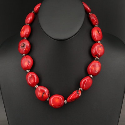 Sterling Silver Coral Beaded Necklace