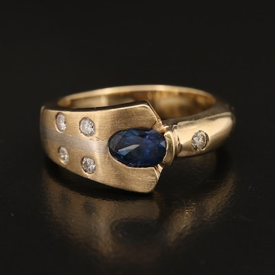 14K Sapphire and Diamond Asymmetrical Ring
