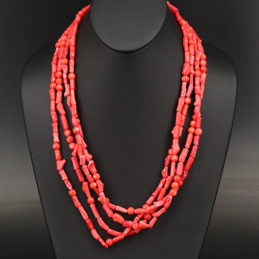 Sterling Coral Bead Necklace
