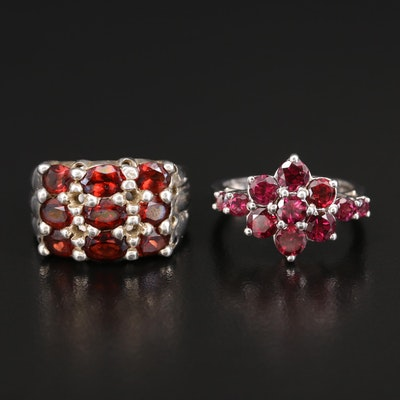 Sterling Silver Garnet Multi-Row Band and Flower Ring