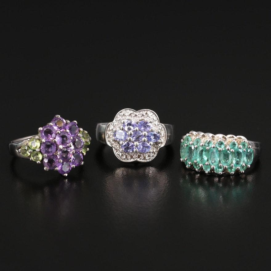 Sterling Tanzanite, Beryl and Amethyst Rings