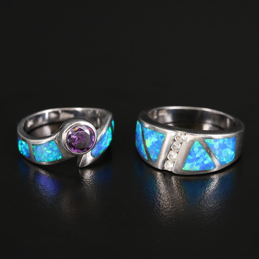Sterling Opal and Cubic Zirconia Rings