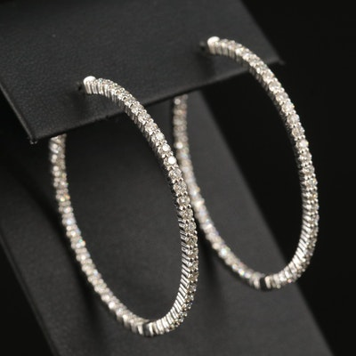 14K 2.90 CTW Diamond Inside-Out Hoop Earrings
