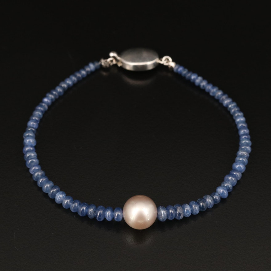 Sterling Pearl and Graduated Sapphire Bracelet