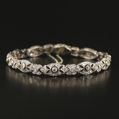 Edwardian Platinum 3.03 CTW Diamond Openwork Bracelet with Milgrain Detail