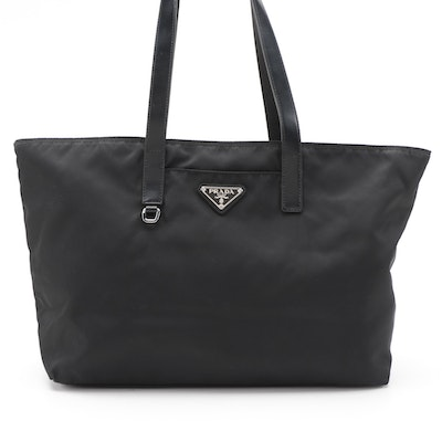 Prada Black Tessuto Nylon and Leather Tote