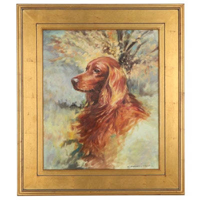 Portrait Acrylic Painting of an Irish Setter, 2001