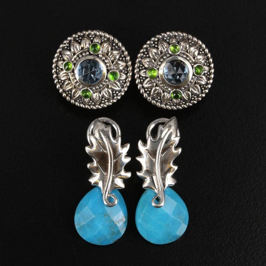 SeidenGang Sterling Silver Topaz, Diopside and Turquoise Earrings