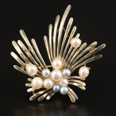Vintage Tasaki Sterling Pearl Spray Brooch