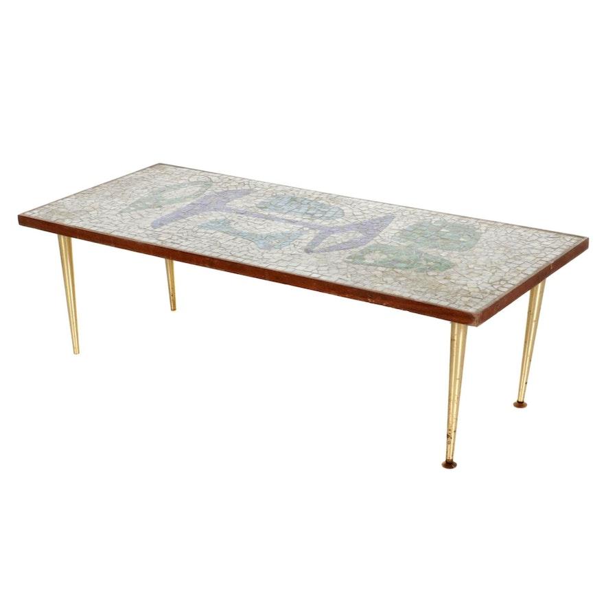 Mid Century Modern Mosaic Tile Coffee Table, Mid-20th Century