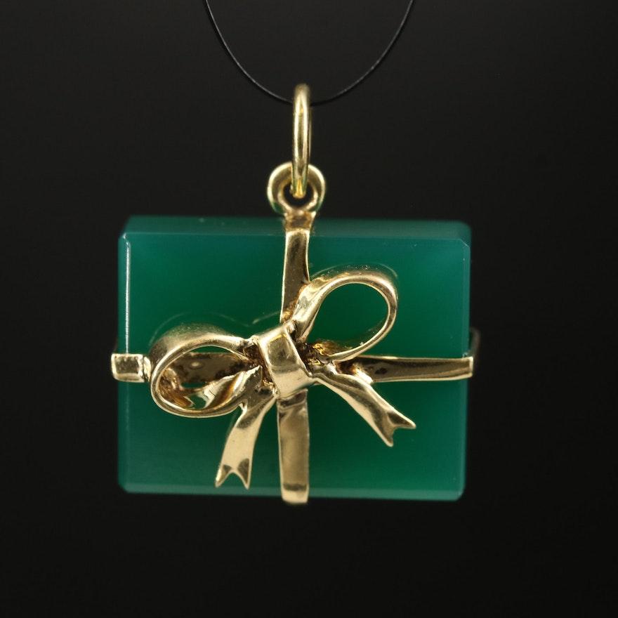 Vintage 14K Chalcedony Gift Box Pendant