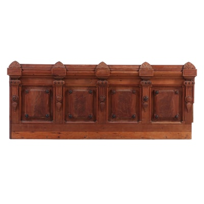 Victorian Walnut Architectural Panel, Adapted as King Headboard