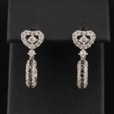 14K 1.42 CTW Black Diamond and Diamond Earrings