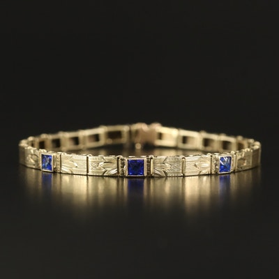 Early Art Deco 14K Blue Glass and Textured Bracelet