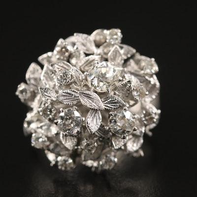 Vintage 10K 1.17 CTW Diamond Tiered Foliate Ring with Florentine Finish