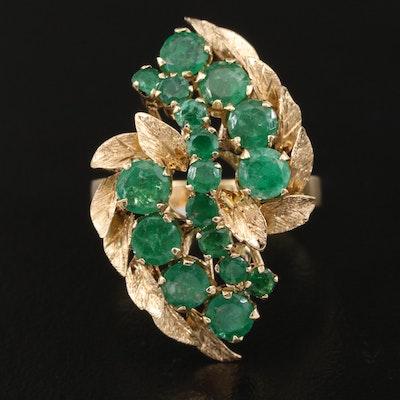 Vintage 14K Emerald Cluster Ring