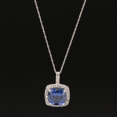 10K Sapphire and Topaz Pendant Necklace