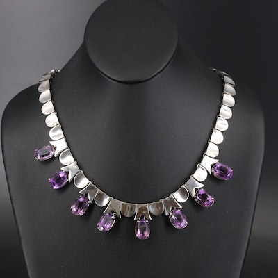 Vintage Mexican Los Ballesteros Sterling Silver Amethyst Fringe Necklace