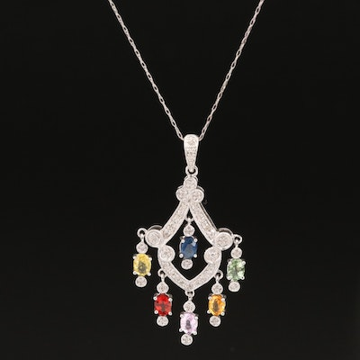 14K Sapphire and Diamond Pendant on 10K Singapore Chain Necklace