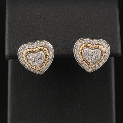 Sterilng Diamond Heart Stud Earrings with 14K Accents