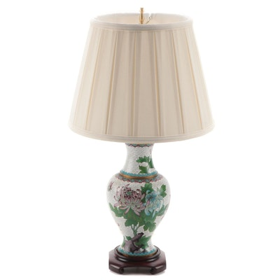 Chinese Chrysanthemum Motif Cloisonné Enamel Vase Table Lamp
