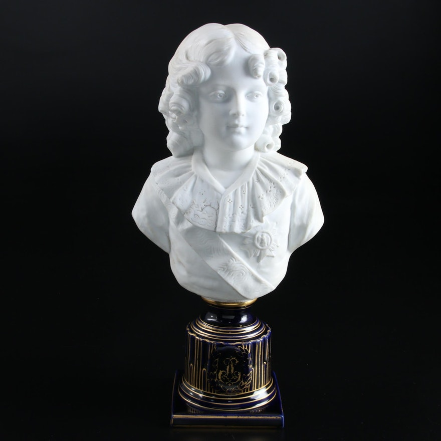 Early Victorian Perion Bust with Unrelated Porcelain Base Figural
