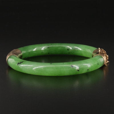 Vintage 14K Nephrite Hinged Bangle