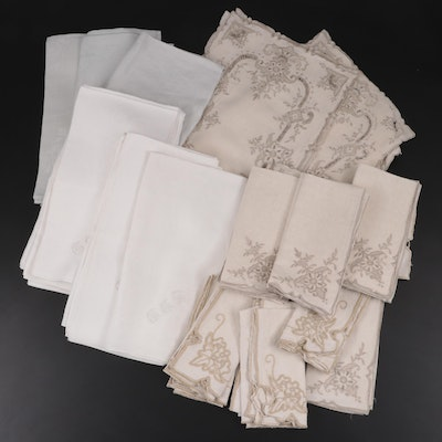 Openwork Embroidered Linen Napkins and Placemats with Other Napkins