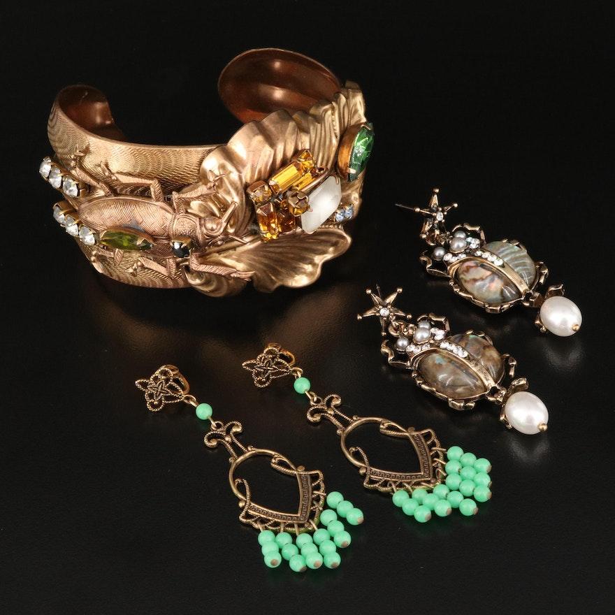 Beetle Cuff and Earrings with Chandelier Earrings