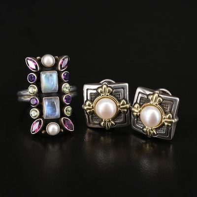 Ann King Sterling Pearl Earrings with 18K and 14K and Nicky Butler Gemstone Ring