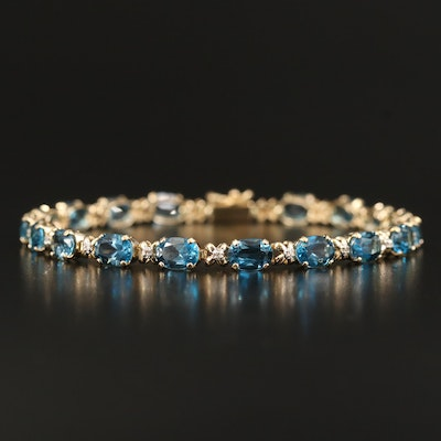 14K Topaz and Diamond Line Bracelet