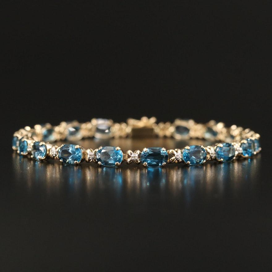 14K Topaz and Diamond Line Bracelet