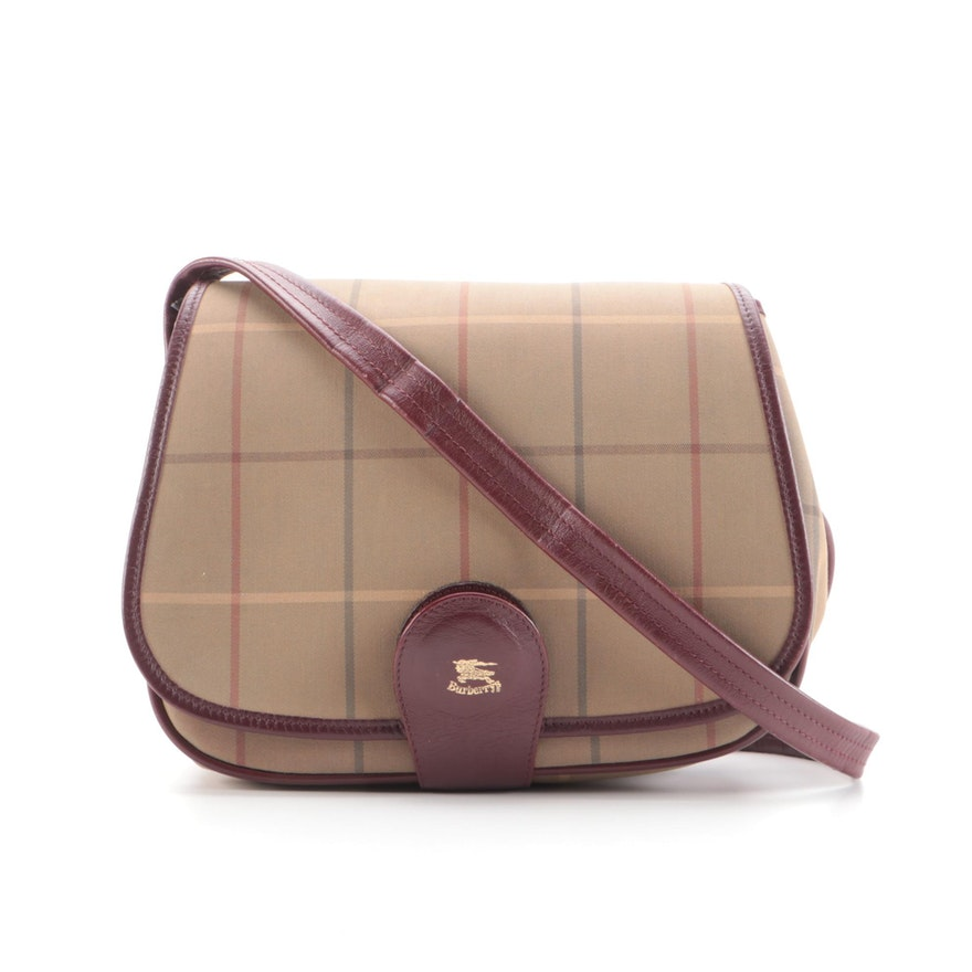 Burberrys Crossbody Messenger Bag in Plaid Canvas with Leather Trim